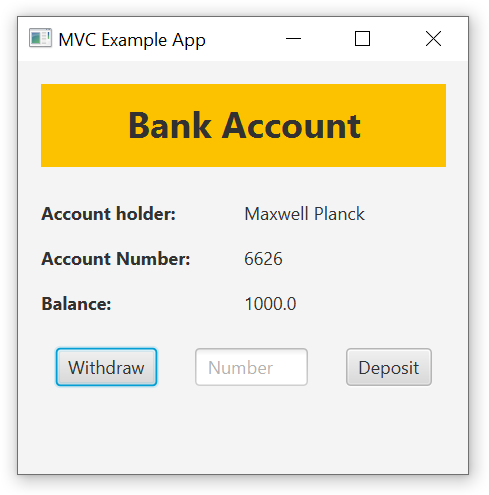A simple JavaFX app to display bank account information